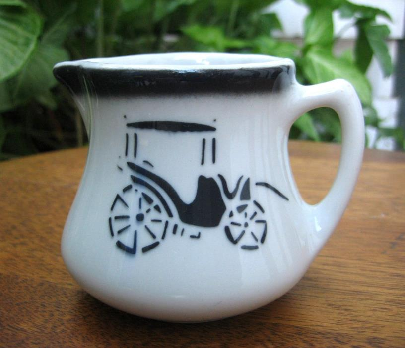 Wellsville China Restaurant Ware SURRY Creamer w/Carriage & Gas Light Lamp Post