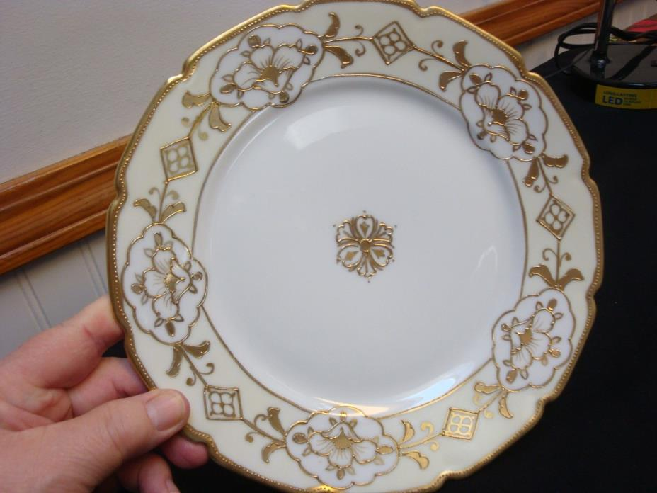 NIPPON GOLD AND CREAM EMBOSSED CABINET DISPLAY PLATE 8 7/8