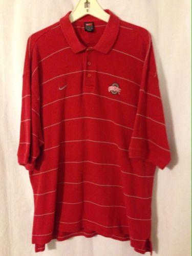 Ohio State Buckeyes Red With Gray Stripes Textured Nike Polo Golf Shirt XXL 2XL
