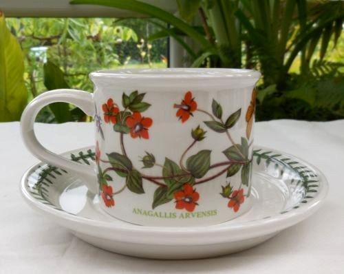 Portmeirion Botanic Garden Large Cup and Saucer Drum Shape, SCARLET PIMPERNEL