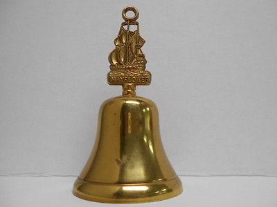 Vintage Mayflower Ship Handle Brass Bell 7