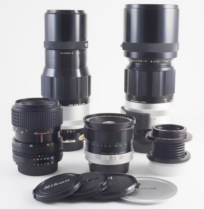 LOT OF 5 NIKON AI MOUNT LENSES 23mm 35-70mm 200mm 300mm LENSBABY FOR SLR DSLR
