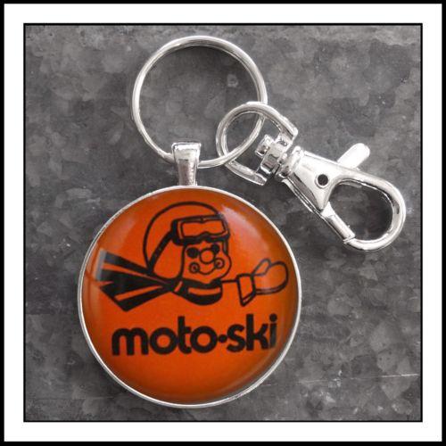 Vintage Moto Ski Advertising Pin Photo Keychain