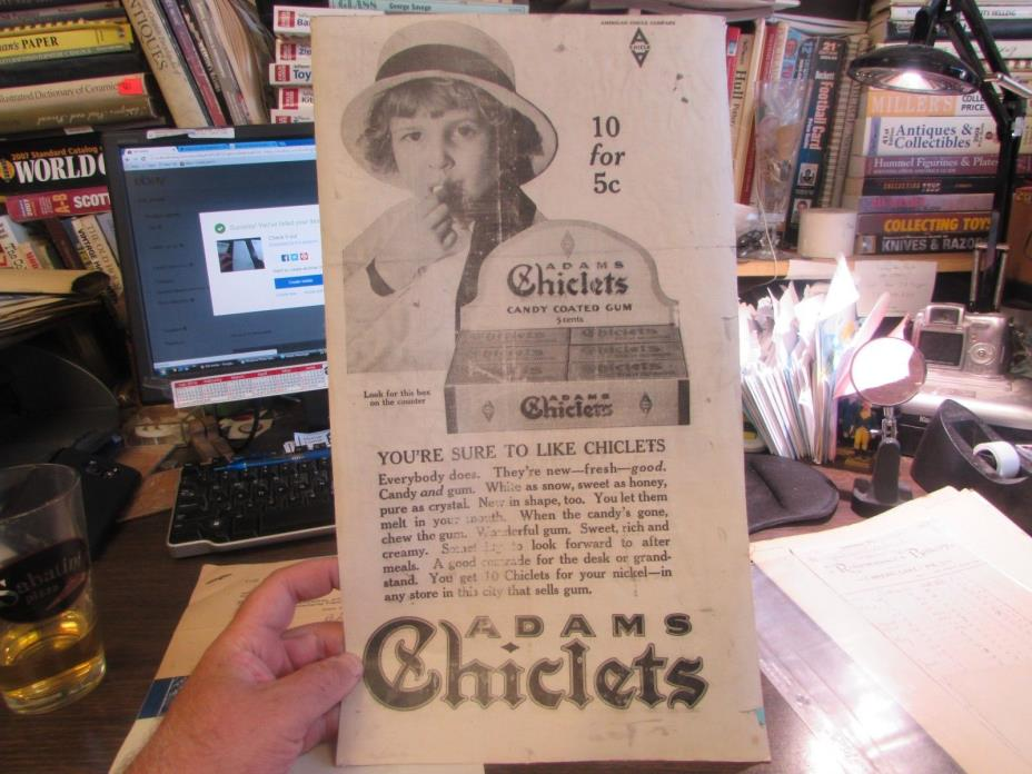 ORIGINAL - ADAMS CHICKLETS GUM - 10 FOR 5 CENTS - NEWSPAPER AD 1915 - 10 X 18 IN