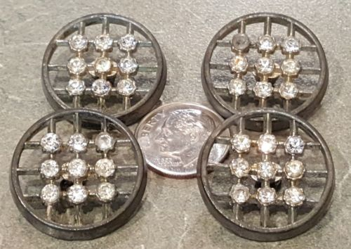 4 Antique Rhinestone Buttons