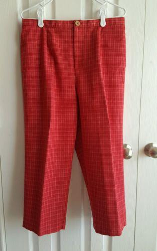 Women's Sag Harbor Red Plaid Capri Pants Size M Medium 10/12 USED