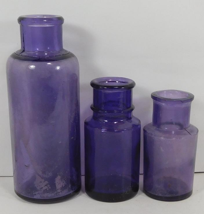 LOT of 3 DIFFERENT SIZE c1910 PURPLE-AMETHYST  ROUND BOTTLES