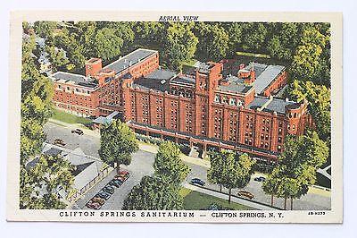 Linen postcard AERIAL VIEW CLIFTON SPRINGS SANITARIUM, CLIFTON SPRINGS, N.Y.