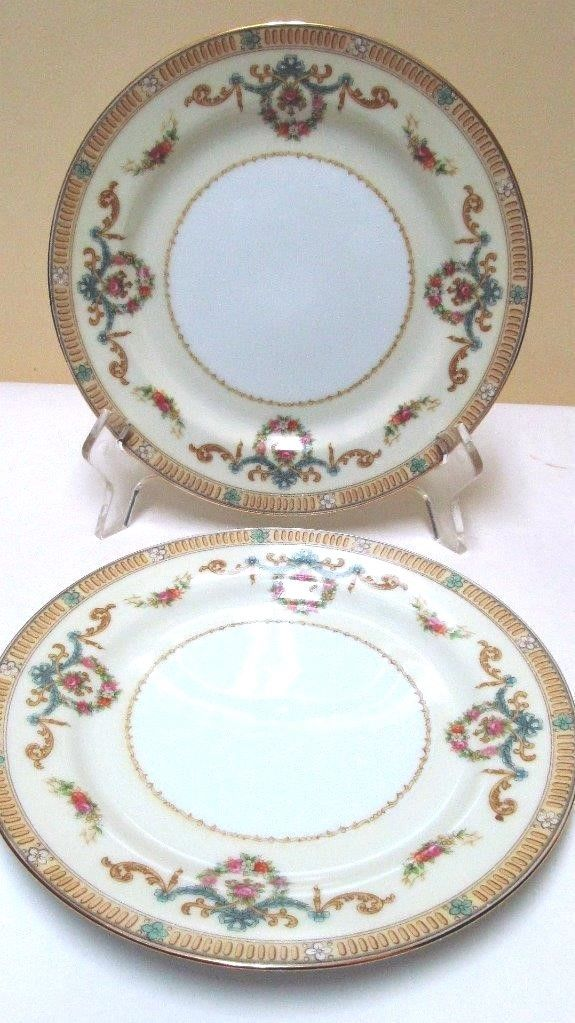 (2) Noritake Japan China Tybalt 3857 Pattern 7.5