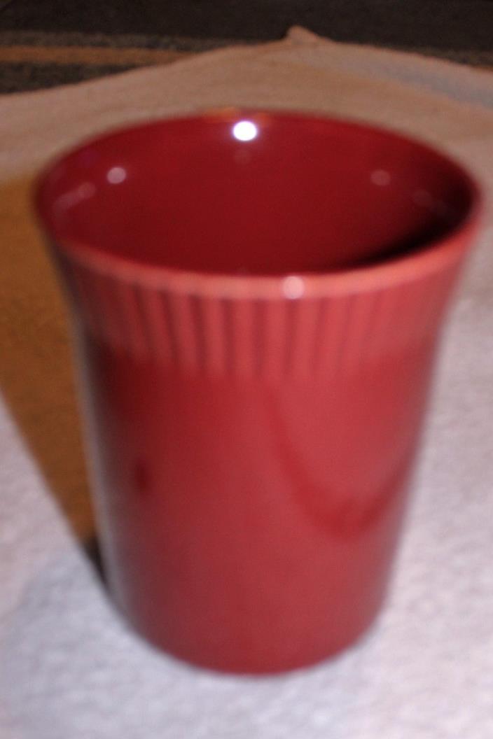 PFALTZGRAFF VASE UNTENSIL HOLDER  Red / Maroon / Cranberry Stoneware 6 1/2 IN