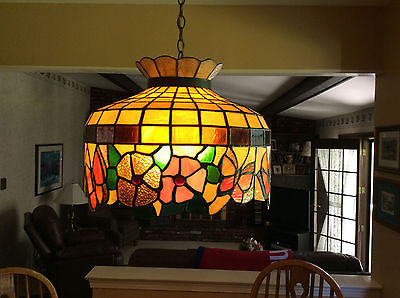 TWO TIFFANY STYLE HANGING LAMPS