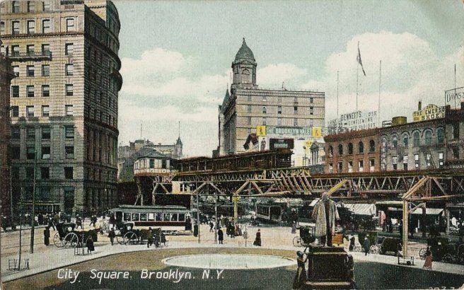 Old Postcard - City Square - Brooklyn NY