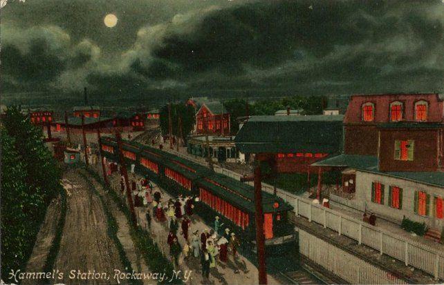 Old Postcard - Hammel's Train Station at Night - Rockaway NY