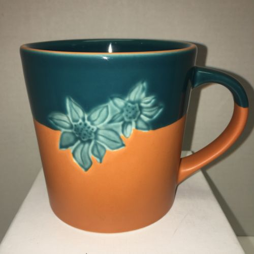 Starbucks Coffee Terra Cotta Orange Teal Embossed Flowers Cup Mug Tea 2006 17oz