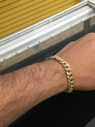 Men's 10k Gold Miami Cuban Link Bracelet Hollow  15.0 Grams