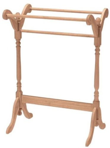 Quilt Rack Towel Blanket Stand Alone Hanger Unfinished Solid Wood Detailing NEW