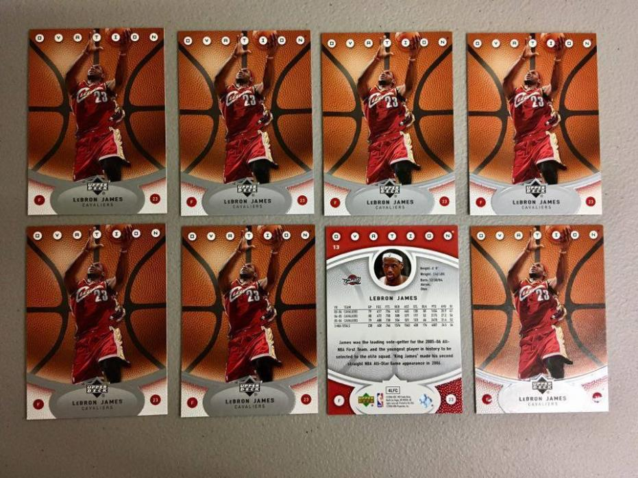 (x8) 2005-06 Upper Deck Ovation LEBRON JAMES lot/set #13 3rd year cards smoking!