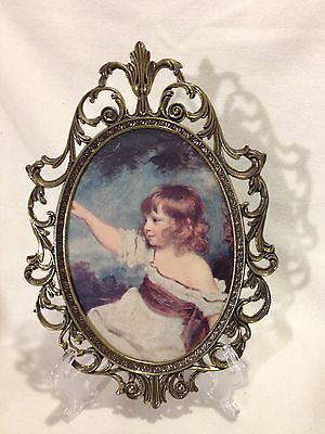 Italian Brass Oval Picture Frame 10x7/Vintage