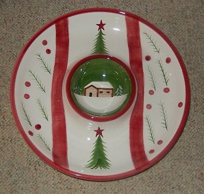 THE CELLER LOG CABIN CHRISTMAS ROUND CHIP & DIP PLATTER 2002