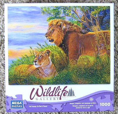 MEGA Wildlife Gallery 1000 Piece Jigsaw Puzzle African Splendor Lions Complete