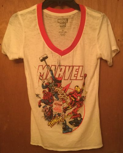 Marvel Characters Girls Girl's Juniors Graphic White Short Sleeve V Neck Size XS