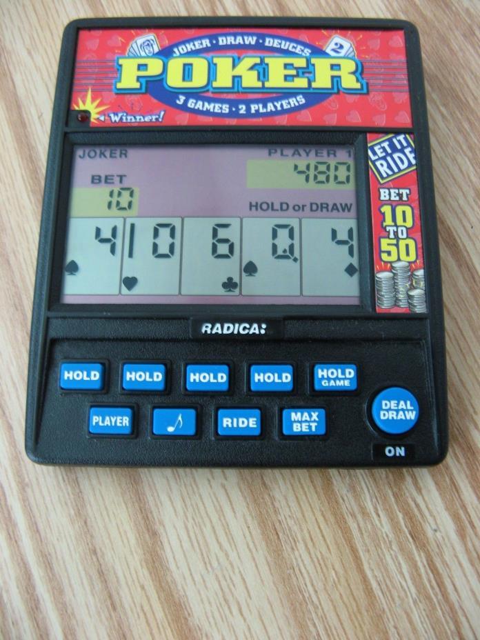 Radica Joker Draw Deuces Poker 3 GAME 2 PLAYER Handheld Electronic Card Game