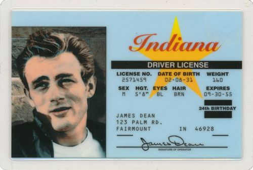 James Dean - Indiana - Drivers License - Novelty