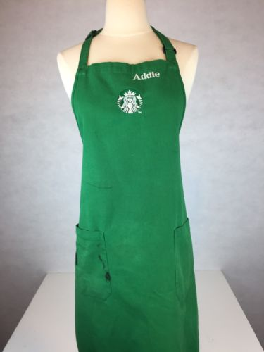 AUTHENTIC STARBUCKS BARISTA EMPLOYEE APRON WITH SHARPIE STAINS AND NAME TRASHED