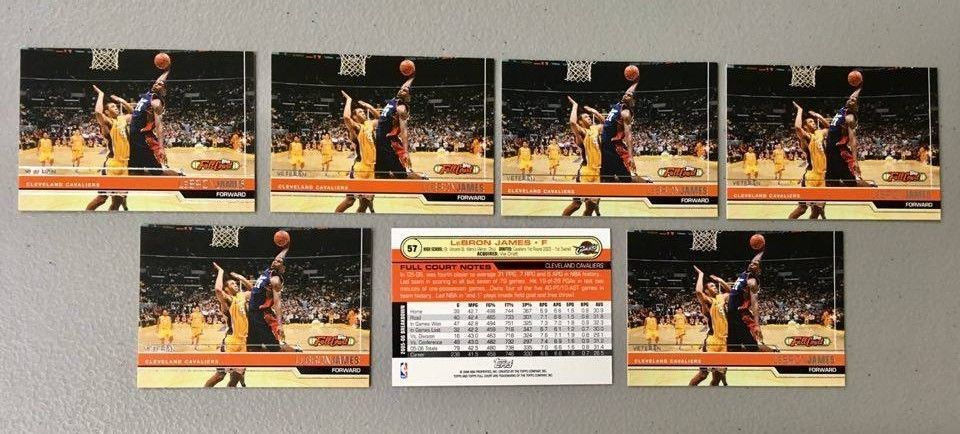 (x7) 2005-06 TOPPS Full Court LEBRON JAMES lot/set #57 3rd Year cards on fire MT