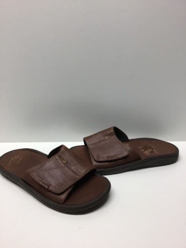 Olukai 'Ohana' Brown Leather Slide Sandals Men's Size 12