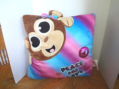 JUSTICE'S MONKEY PILLOW W/ BOW, PEACE, & LOVE 19