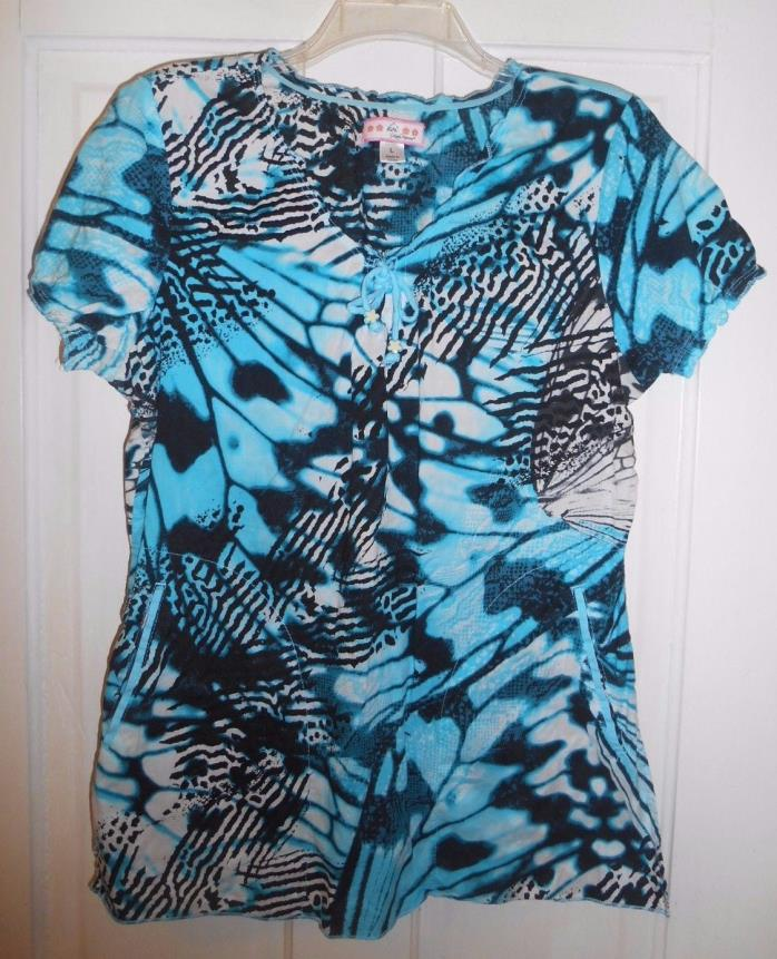 Womens Koi Size L White Blue/ Black Scrub Top Shirt Short Sleeves, Side Pockets