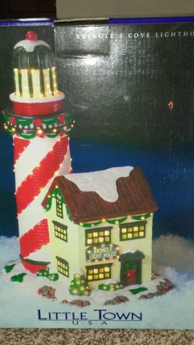Kringles Cove Christmas Lighthouse Little Town USA New in Box