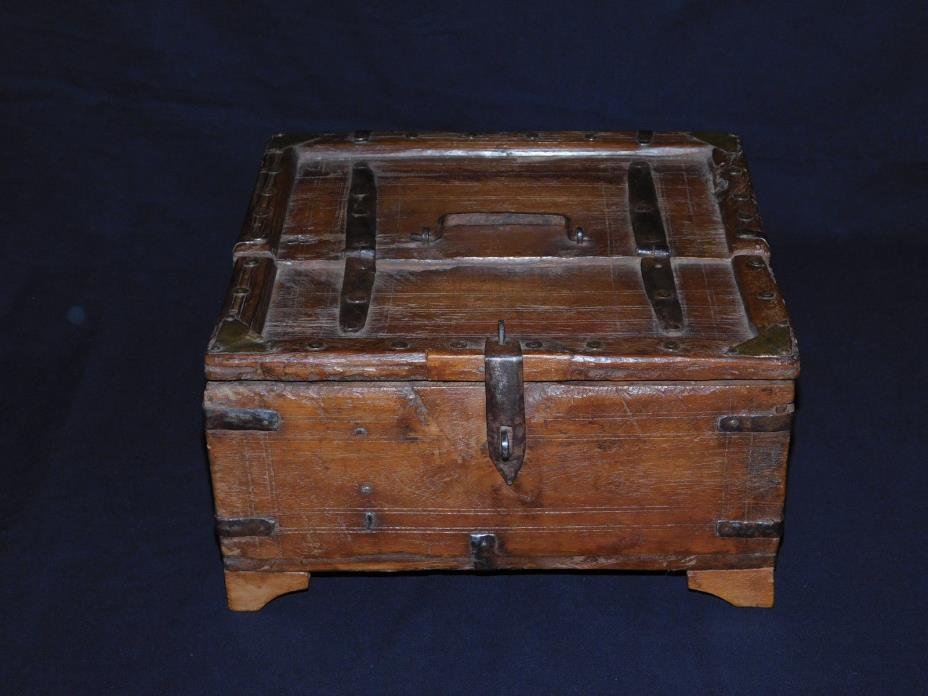 ORIGINAL ANTIQUE SQUARE TEAK WOOD WITH IRON & BRASS HARDWARE CASH BOX FROM SOUTH