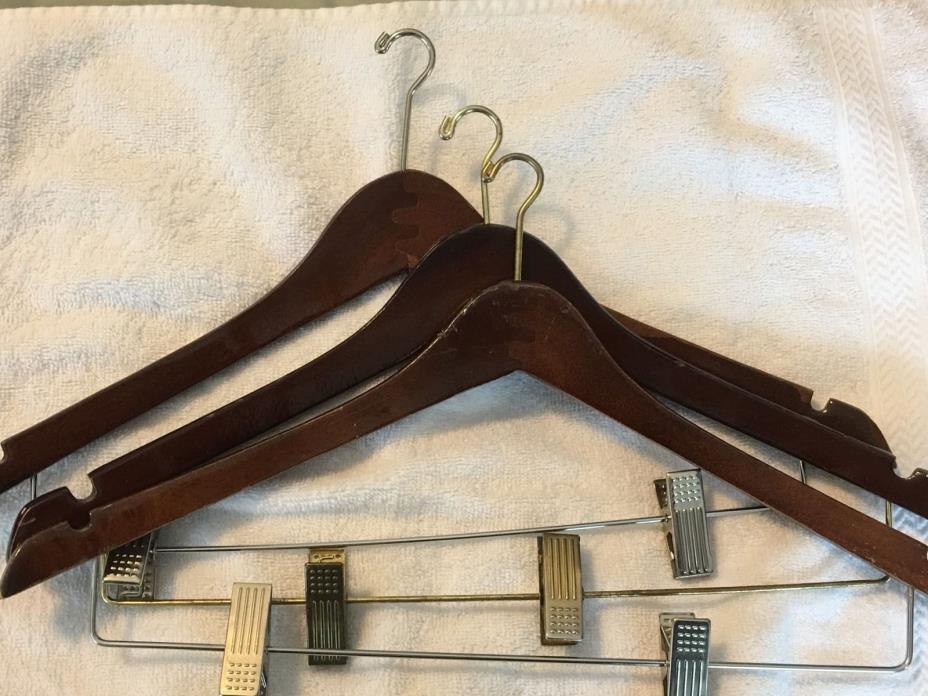 Ten Vintage Look Wood Wooden Suit And Pants Hangers ~ 2 Wide Hook, 8 Narrow
