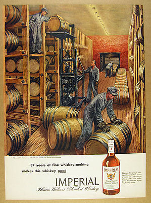 1945 Imperial Whiskey distillery rackhouse barrels painting art vintage print Ad