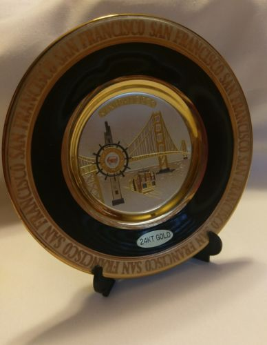 24K Gold Edged Chokin Plate in Black - San Francisco with display stand