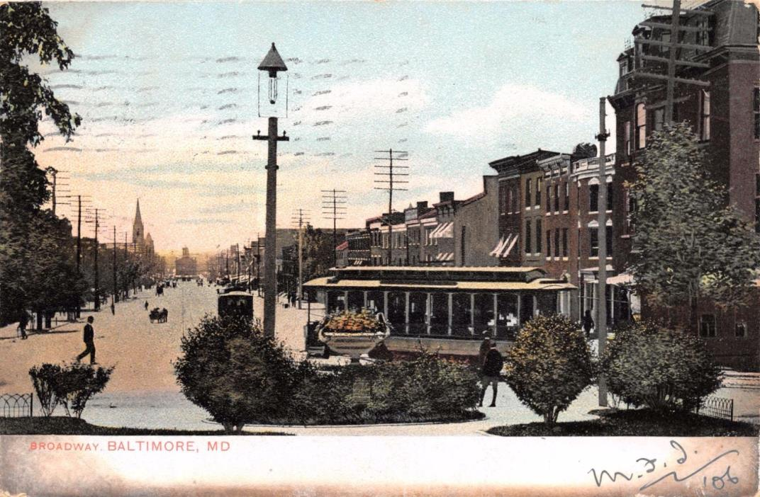 BALTIMORE MARYLAND BROADWAY~RINN PUBL #513 POSTCARD 1906