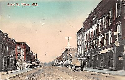 Fenton Michigan~Leroy Street~Clock~Lodging Sign~Post Office~1909 Postcard