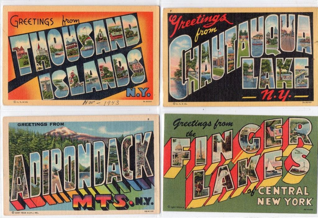Greetings from: 20 NY Large letter postcards, 4 WM. Jubb, 10 curteich & 6 others