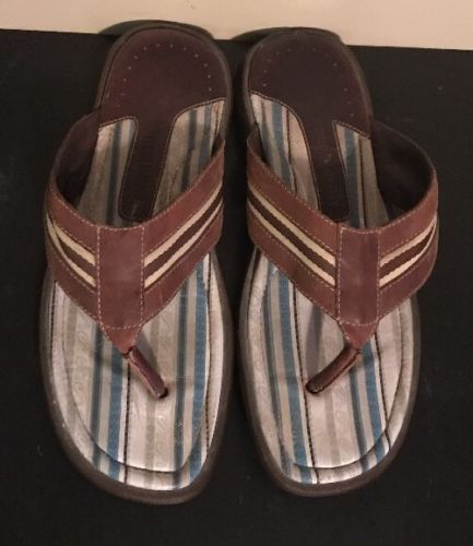 ++ J & M Johnston & Murphy Brown Leather Flip Flop Sandal Size 10 M Mens