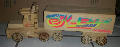 Handcrafted Wooden Semi Trailer Truck- piggy bank