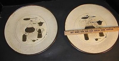 2 VTG STAMPED METAL PLATES PAIR DECORATIVE BRASS WITH WHITE WALL HANGING England