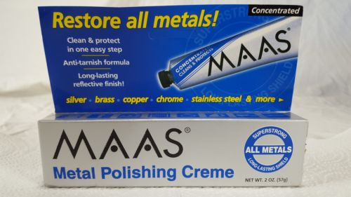 1 Maas Metal Polishing Creme 2oz Tube #91403 ALL METALS Silver Glass Copper Gold