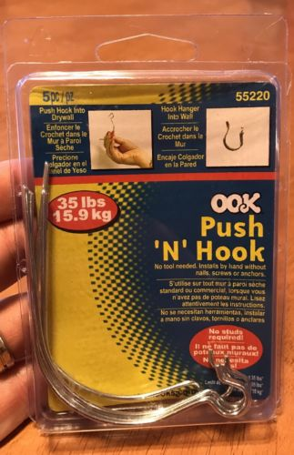 Ook Push N' Hook Holds Up To 35 Pounds