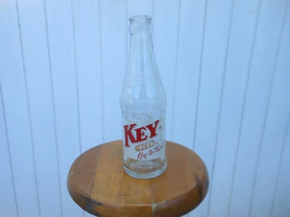Vintage Key Beverages ACL 1950's Clear Red White Soda Bottle 6 1/2 fl oz