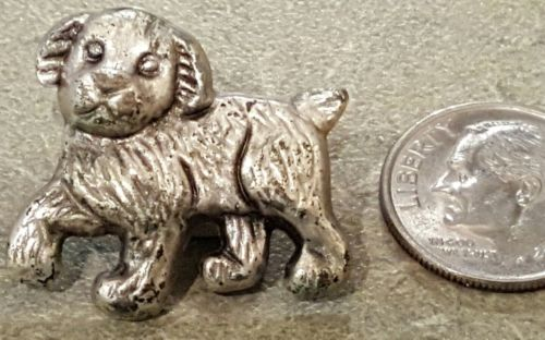 Vintage Realistic Heavy Metal Dog Puppy Button 1