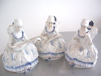Set of 3 Victorian  Musician Figurines,  Cobalt Blue,White,Gold, 6 1/2