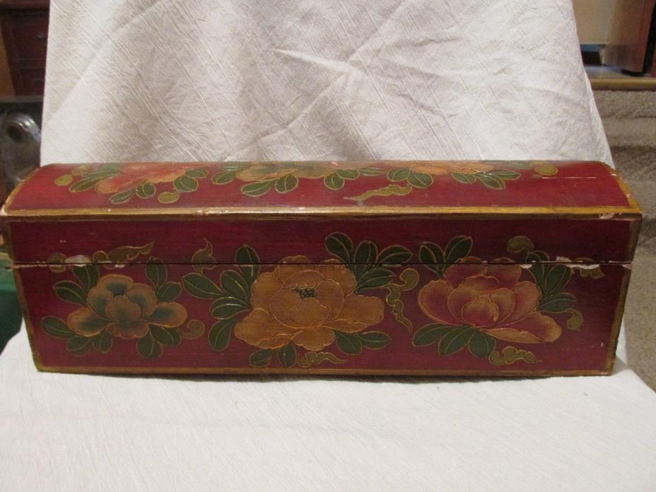 Antique Vintage Decorative Wood Box - Raised Painted Roses