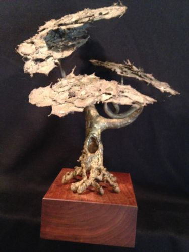 Mid Century Brutalist Metal Art Tree Wood Base Bonsai